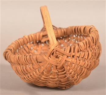 Antique Pennsylvania Woven Oak Splint Berry Basket