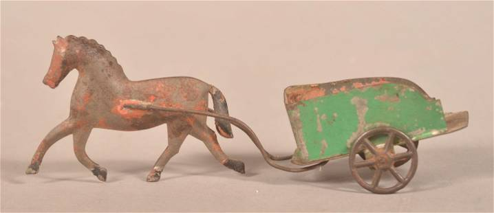 Antique Tin Horse and Cart Pull Toy