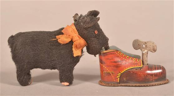 Tin and Cloth Covered Wind-Up Toy Scotty Dog