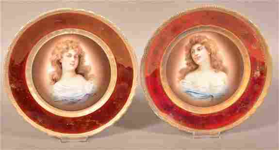 2 Austria Transfer Decorated Portrait Plates