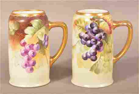 Pair of Hand Painted Porcelain Tankards