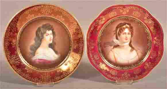 2 Bavarian Porcelain Portrait Plates