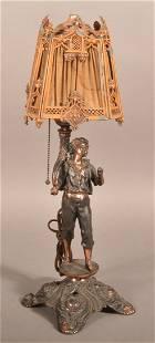 Gilt Spelter Metal Figural Table Lamp