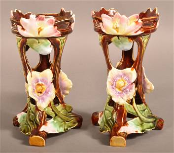 Pair of French Majolica Art Nouveau Candle Holders