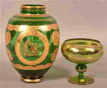 2 Italian Emerald Green Glass Vessels