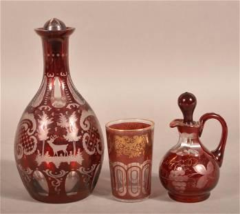 3 Bohemian Glass Ruby Overlay Vessels