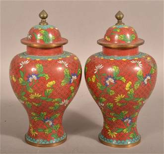Pair of Chinese Cloisonne Covered Vases