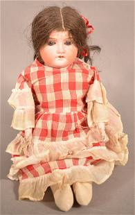Unsigned German Bisque Head Girl Doll