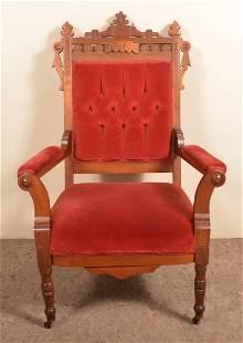 Eastlake Victorian Walnut Carved Arm Chair