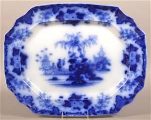 "Flow Blue China ""Scinde"" Shaped Edge Platter."