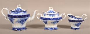 "Flow Blue China ""Touraine"" Three Piece Tea Service."