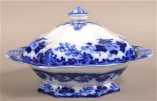 """Flow Blue China """"Scinde"""" Covered Vegetable Dish."""