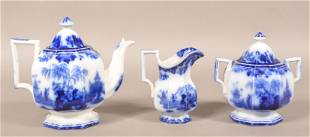"Flow Blue China ""Scinde"" Three Piece Tea Service."