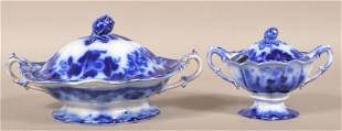 """Flow Blue China """"Scinde"""" Vegetable and Sauce Dishes."""