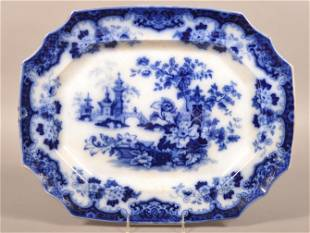 "Flow Blue China ""Sobraon"" Shaped Edge Platter."