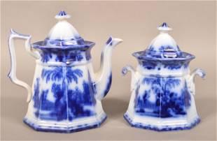 "Flow Blue China ""Scinde"" Teapot and Sugar Bowl."