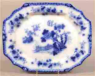 "Flow Blue China ""Indian"" Shaped Edge Platter."