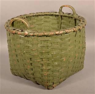 Antique Green Woven Oak Splint Circular Field Basket.