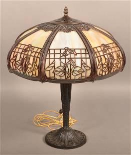 Antique Slag Glass Table Lamp.
