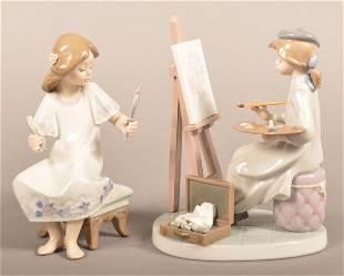 Two Lladro, Spain Glazed Porcelain Figurines.