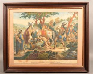 """Color Lithograph Titled """"Smith Rescued by Pocahontas""""."""