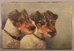 Oil on Canvas Painting of Two Terriers Signed