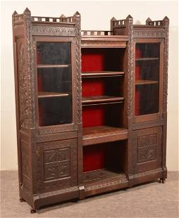 Victorian Carved and Molded Mahogany Bookcase.