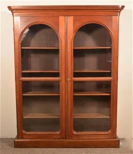 Victorian Walnut Arched Door Bookcase.