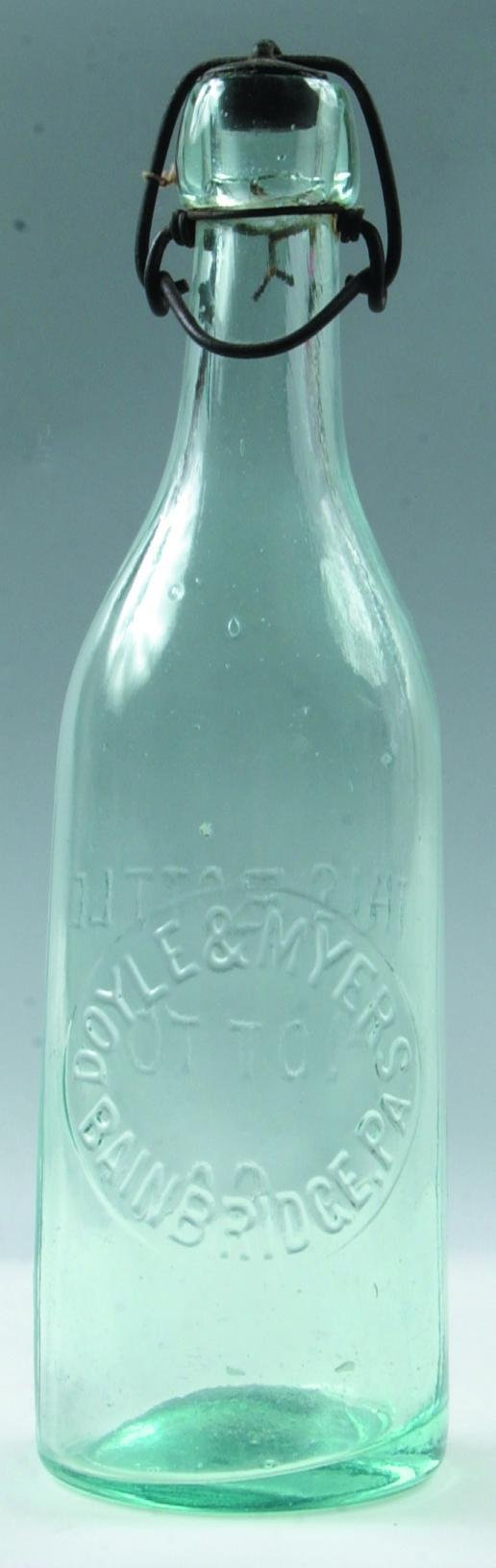 3: Doyle & Myers Bainbridge, Pa. clear blob top bottle,