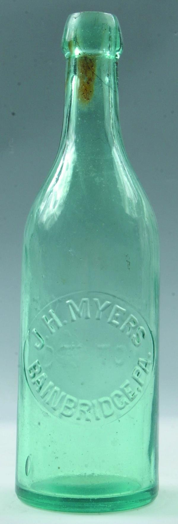 6: Myers, J. H. Bainbridge, Pa. aqua blob top bottle, s