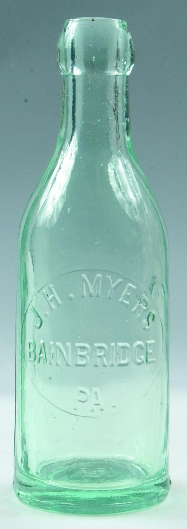 9: Myers, J. H. Bainbridge, Pa. clear blob top bottle,