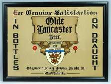 427: Olde Lancaster Beer Embossed Tin Lithograph Advert