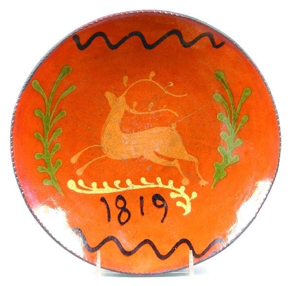 "1: Greg Shooner 2003 Redware Stag Decorated 10 ¾"" Plate"