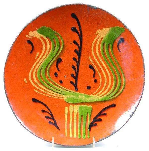 "2: Greg Shooner 2000 Redware Tulip Decorated 12 ¾"" Char"