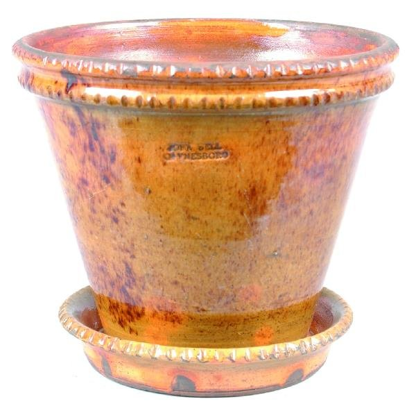 5: Greg Shooner 2001 Redware Flower Pot with attached S