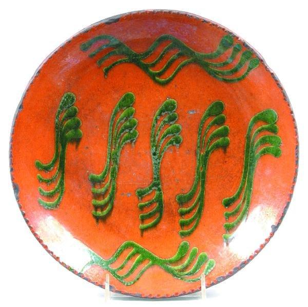 "8: Greg Shooner 1998 Redware Slip Decorated 11 ¼"" Plate"