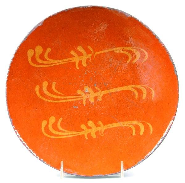 "14: Greg Shooner 2004 Redware Slip Decorated 10 ¾"" Plat"