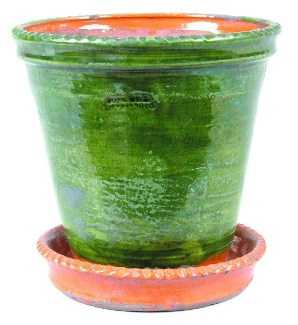 16: Greg Shooner 2005 Redware Flower Pot with attached