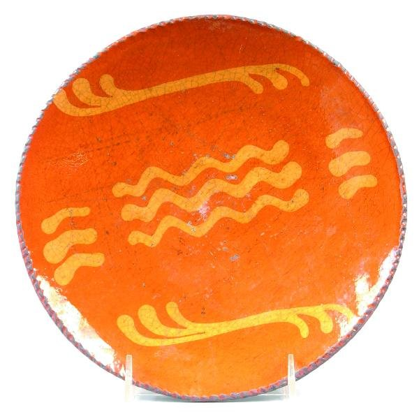 "17: Greg Shooner 2003 Redware Slip Decorated 9"" Plate w"