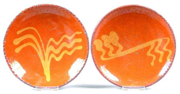 """23: Two Small Greg Shooner Redware Slip Decorated 6"""" Pl"""