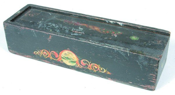 579: Painted Softwood Decorated Slide Lid Top Box havin