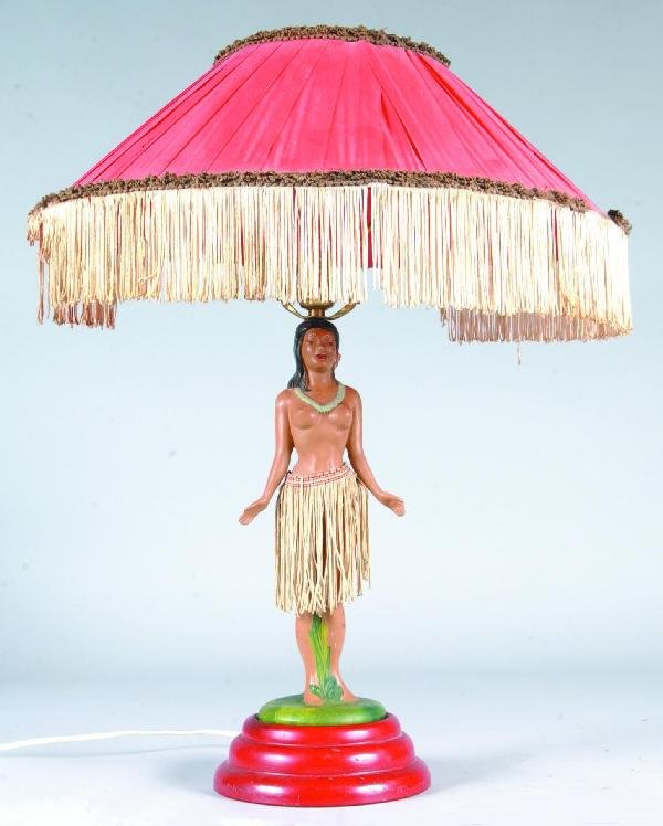 717: Hula Girl Figural Table Lamp with dancing motions,