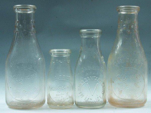 2: Four Mount Joy, PA Milk Bottles: Hallgren's Dairy