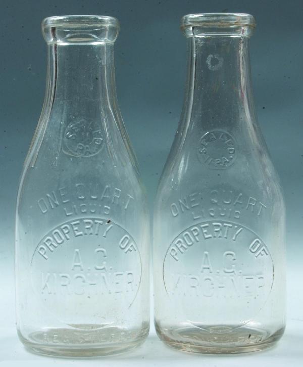 3: Two A.C. Kirchner, Lancaster, PA Milk Bottles