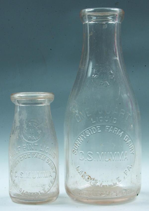 4: Two C.S. Mumma, Landisville, PA Milk Bottles