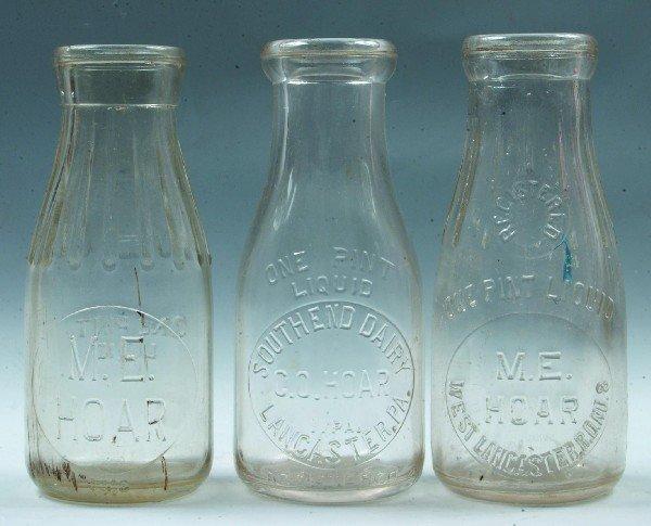 6: Three Lancaster PA Milk Bottles: M.E.Hoar, Lancaster