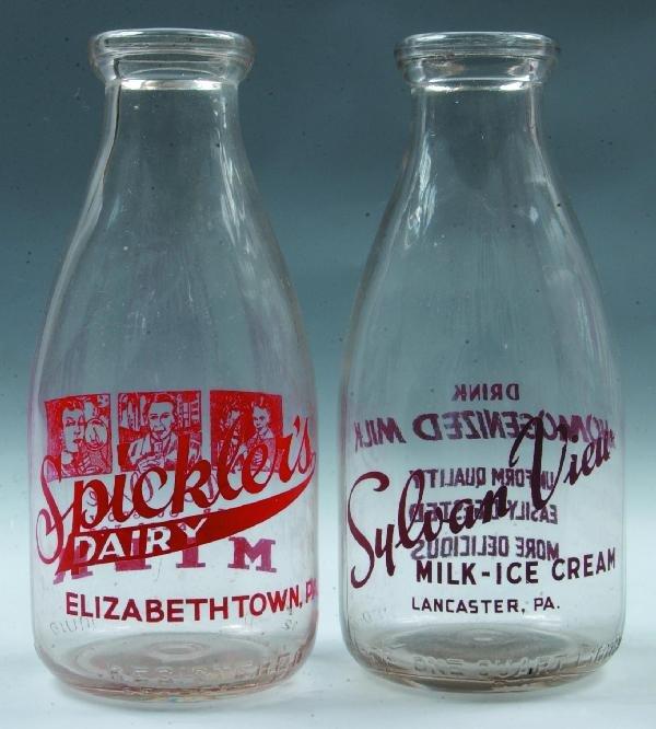 9: Two Various Milk Bottles: Spickler's Dairy,  Elizabe