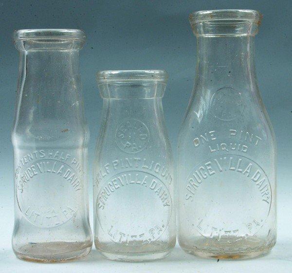 16: Three Spruce Villa Dairy, Lititz, PA Milk Bottles