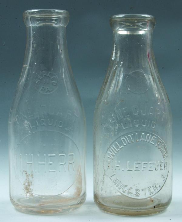 22: Two Lancaster PA Milk Bottles: I.H. Lefever, Willow