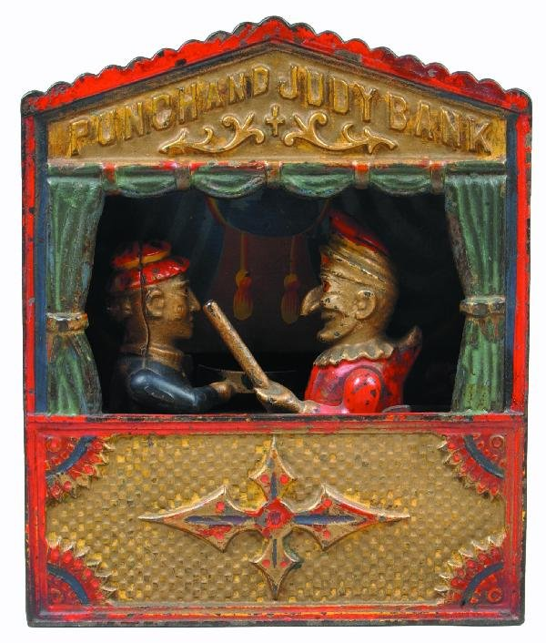 224: Punch and Judy Cast Iron Mechanical Bank by Shepar